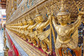 Guardian garuda support the base of wat phra kaew temple of emerald buddha in grand palace the iconic landmark in bangkok thailand Stock Photos