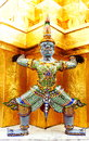 Guardian statues at temple of the Emerald Buddha (Wat Phra-K Royalty Free Stock Photo