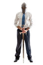 Guarding your money a young businessman on a white background holding a steel sword and wearing an helm Royalty Free Stock Photos