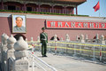 The guards Beijing tiananmen gate soldiers Royalty Free Stock Photography