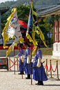 Guards at gyeongbok palace seoul south korea in traditional dress in gyeongbokgung in downtown traditionally guarding the Stock Photo