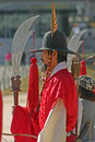 Guards at gyeongbok palace seoul south korea in traditional dress in gyeongbokgung in downtown traditionally guarding the Royalty Free Stock Images