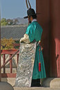 Guards at gyeongbok palace seoul south korea in traditional dress in gyeongbokgung in downtown traditionally guarding the Stock Photos