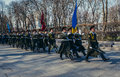 Guards of honour kiev ukraine april ukrainian marches at alley the fallen heroes in kiev Royalty Free Stock Photography