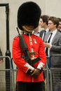 Guardsman in the welsh guards a soldier displaying his medals at funeral of lady thatcher Royalty Free Stock Photo