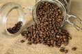 Guatemala cofee coffee beans in a glass jar Royalty Free Stock Photos