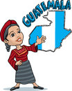 Guatemalan woman vector cartoon of a native from guatemala in a welcome gesture with a map behind her Royalty Free Stock Photo