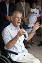 Gubernatorial candidate addresses volunteers a texas from his wheelchair Stock Images
