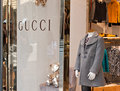 Gucci kids store is an italian fashion and leather goods brand part of the group which is owned by french company kering was Royalty Free Stock Images