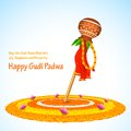 Gudi padwa illustration of lunar new year celebration of india Stock Photos