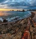Gueirua beach at sunset, Asturias, Spain.