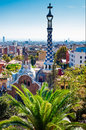 Guell park barcelona designed by antonio gaudí is the most famous in declared a world heritage site by unesco Stock Photography