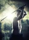 Guerriero con il suo katana Fotografia Stock Libera da Diritti