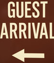 Guest arrival sign. Royalty Free Stock Photography