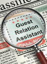 Guest Relation Assistant Hiring Now. 3D. Royalty Free Stock Photo