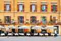 Guests sit on the beautifull restaurant terrace in Piazza Navona in Rome, Italy Royalty Free Stock Photo