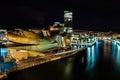 Guggenheim museum in bilbao night photography Stock Photos