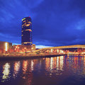 The guggenheim museum bilbao night view of iberdrola tower in biscay basque country spain Royalty Free Stock Photos