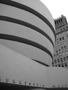 Guggenheim museum exterior in new york greyscale of the city Royalty Free Stock Image