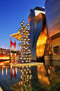 Guggenheim Museum at night in Bilbao, Spain Stock Photo
