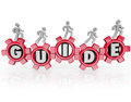 Guide people walking gears instructions advice word on and forward to illustrate progress thanks to guidance leadership or expert Stock Photo