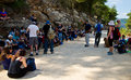 Guide review hikers listening to a telling them interesting stories on jerusalem mountains Royalty Free Stock Image