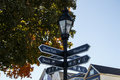 Guidepost in bar harbor usa the port of x maine x showing the way to the waterfront and the beach area Stock Image