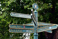 Guidepost in the city of york with pointers to places of interest or the parking area england Stock Image
