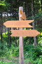 Guidepost in forest in park Stock Image