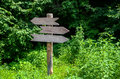 Guidepost in forest in park Stock Photos