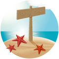 Guidepost at the sea beach vector travel concept with stars Royalty Free Stock Images