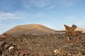 Guidepost to timanfaya volcanic park lanzarote canary islands Stock Image