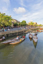 Guides at the thu bon river hoi an vietnam sunset old town is a famous tourist destination in world and photo Royalty Free Stock Photography