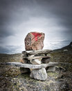 Guiding sign tourist route mark made of stone norway Stock Photos