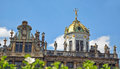 Guild houses on grand place in brussels belgium clear day with blurred green leaves front Royalty Free Stock Photos