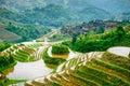 Guilin rice terraces yaoshan mountain china hillside landscape Royalty Free Stock Photos
