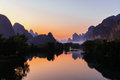 Guilin yangshuo yulong river in a river Stock Photo