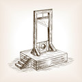 Guillotine sketch style vector illustration