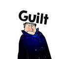 Guilt man in coat with written above head Royalty Free Stock Photography