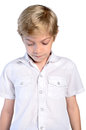 Guilty young boy on white background Stock Images