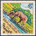 GUINEA - CIRCA 1975: A stamp printed in Guinea from the `Wild Animals` issue shows a Greater Kudu Tragelaphus strepsiceros Royalty Free Stock Photo