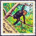 GUINEA - CIRCA 1975: A stamp printed in Guinea from the `Wild Animals` issue shows a Chimpanzee Pan troglodytes, circa 1975. Royalty Free Stock Photo