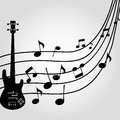 Guitar abstract silhouette on music score on special background Stock Images