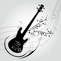 Guitar abstract silhouette on special music background Stock Image