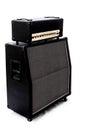 Guitar amp stack left angle black half and speaker cabinet logo s removed Stock Images
