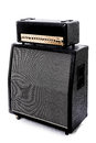 Guitar amp stack right angle black half and speaker cabinet Stock Photography