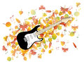 Guitar and autumn leaves illustration colorful Stock Images