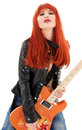 Guitar babe picture of lovely redhead girl with orange Stock Images
