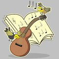 Guitar and bird still life with sheet music workbook humorous illustration Royalty Free Stock Images