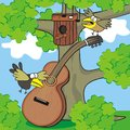 Guitar and birds in the forest play the sing humorous illustration for children Stock Photos
